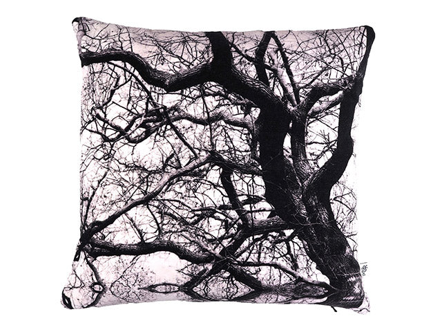 Handmade tree print cushion
