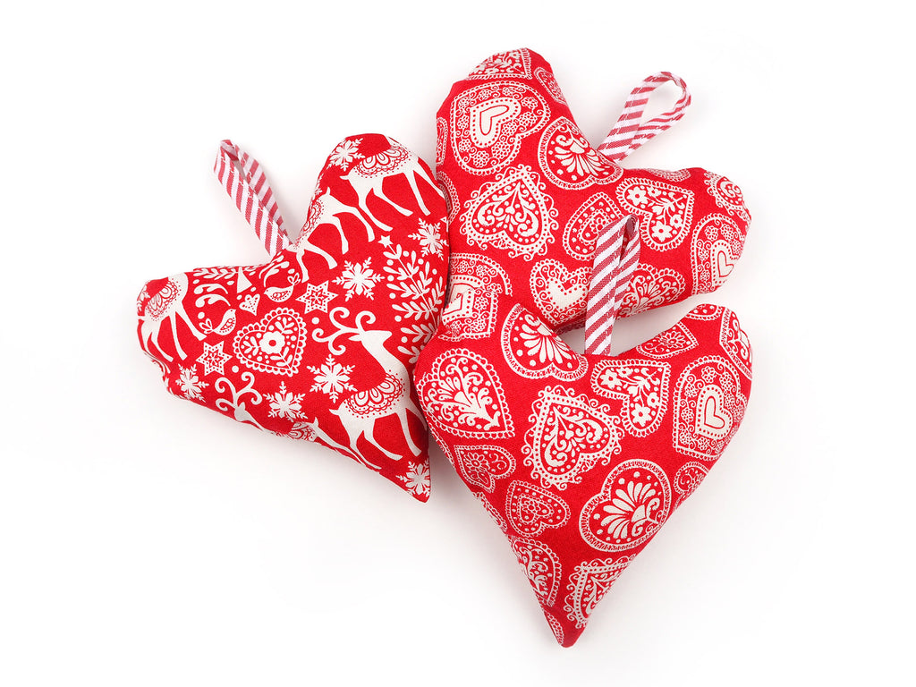 Set of 3 handmade heart shaped Christmas decorations
