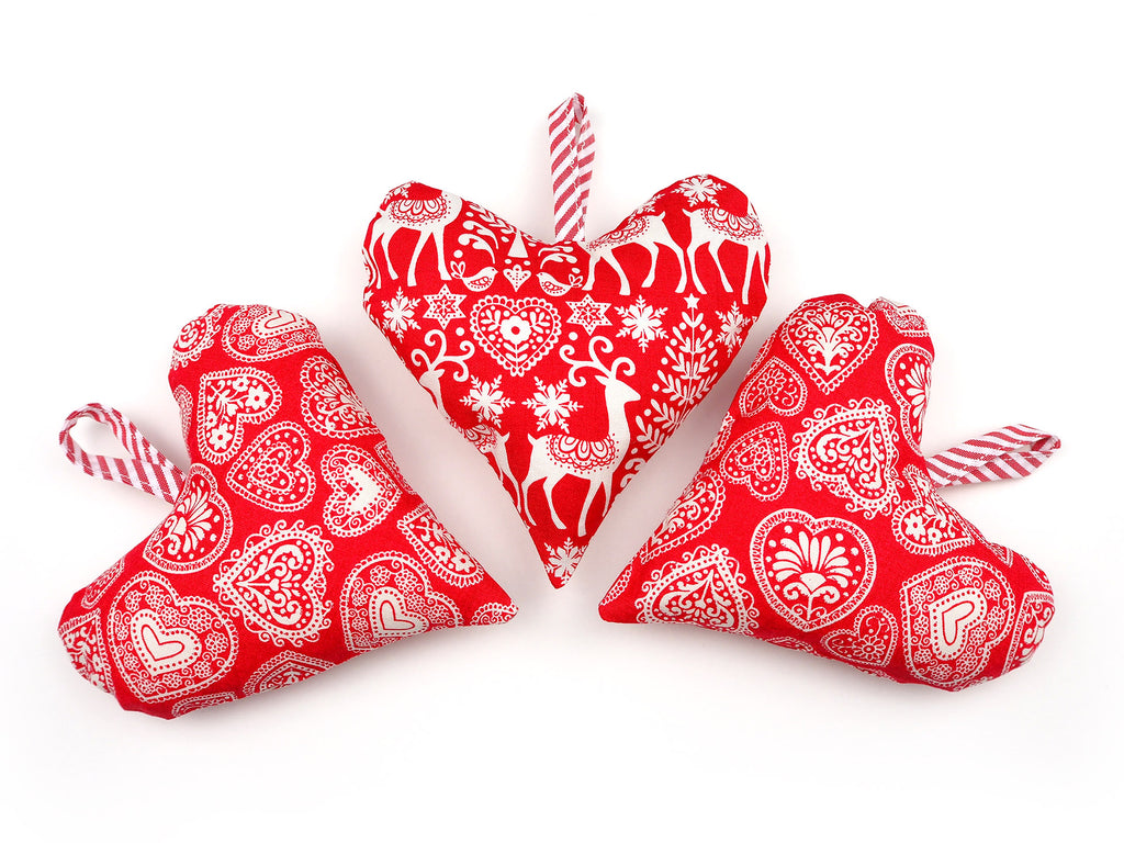 Handmade heart shaped Christmas baubles