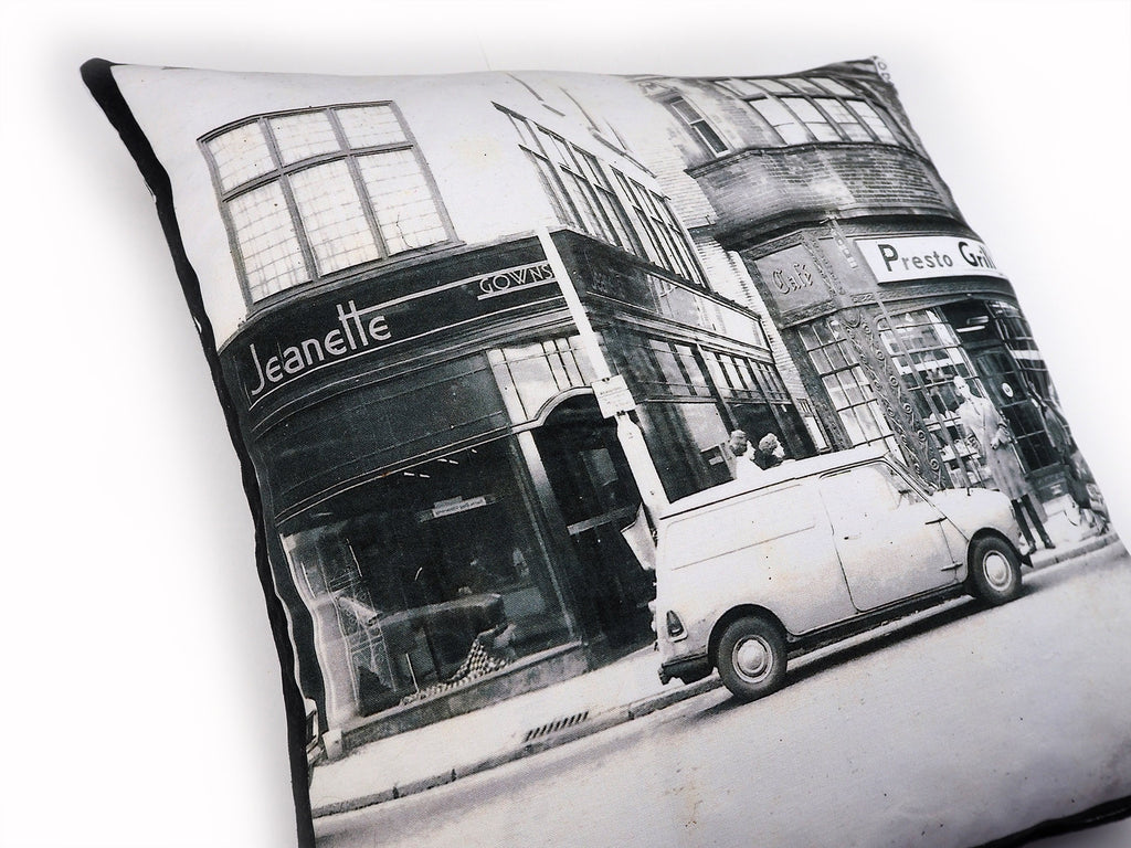 Vintage photo print handmade cushion detail