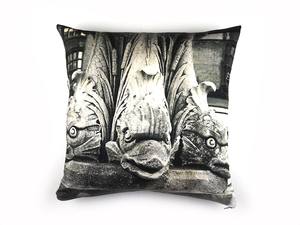 Vintage 1960's black and white photo print cushion cover