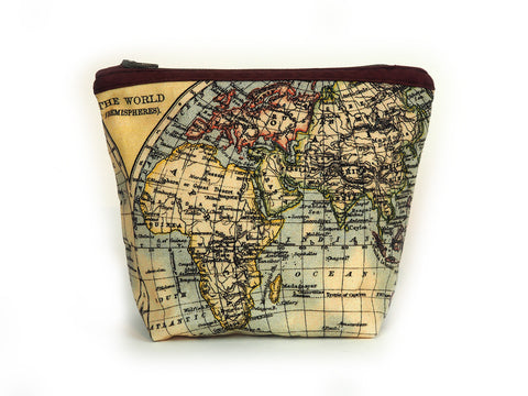 Max & Rosie Antique atlas makeup bag burgundy front view