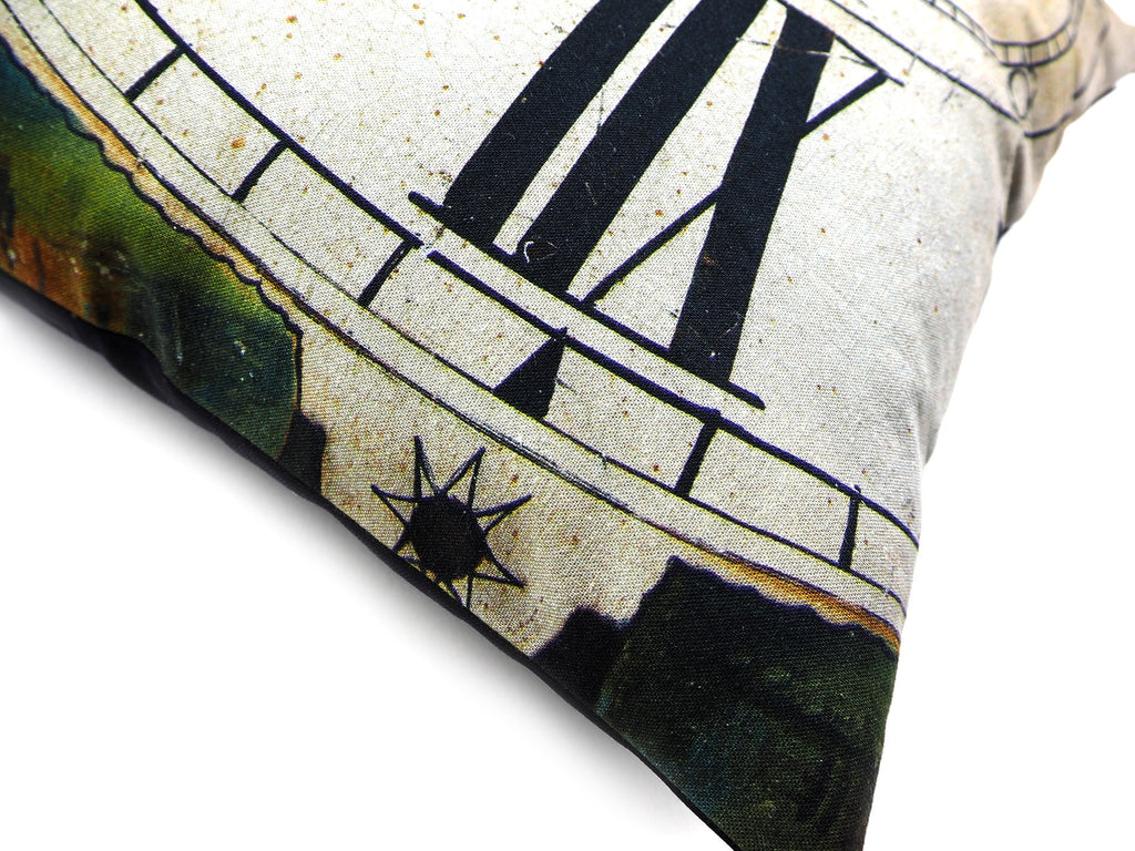 Max & Rosie Handmade antique clock face cushion close up
