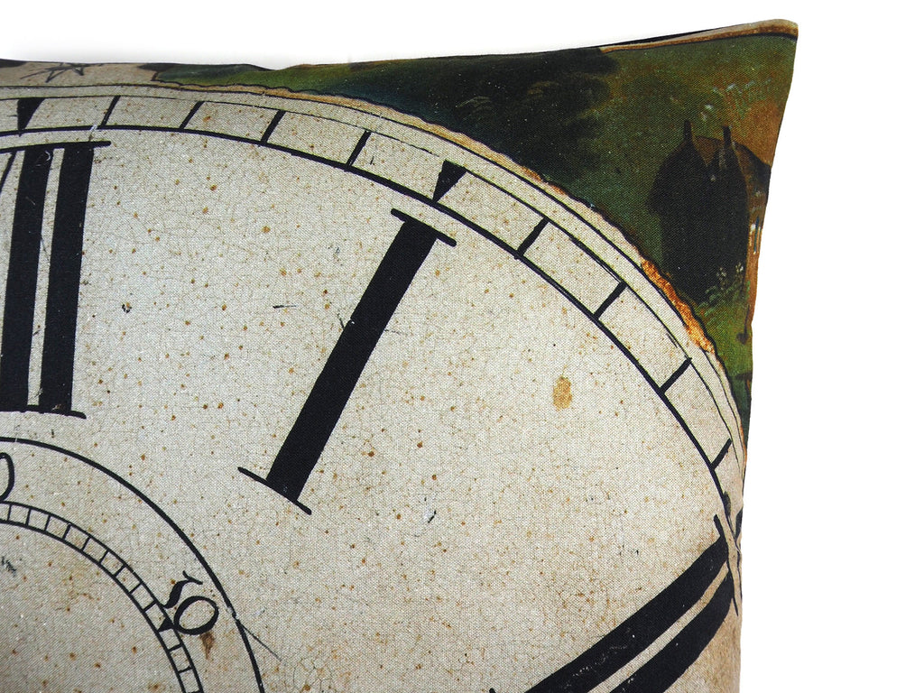 Max & Rosie Handmade antique clock face cushion detail