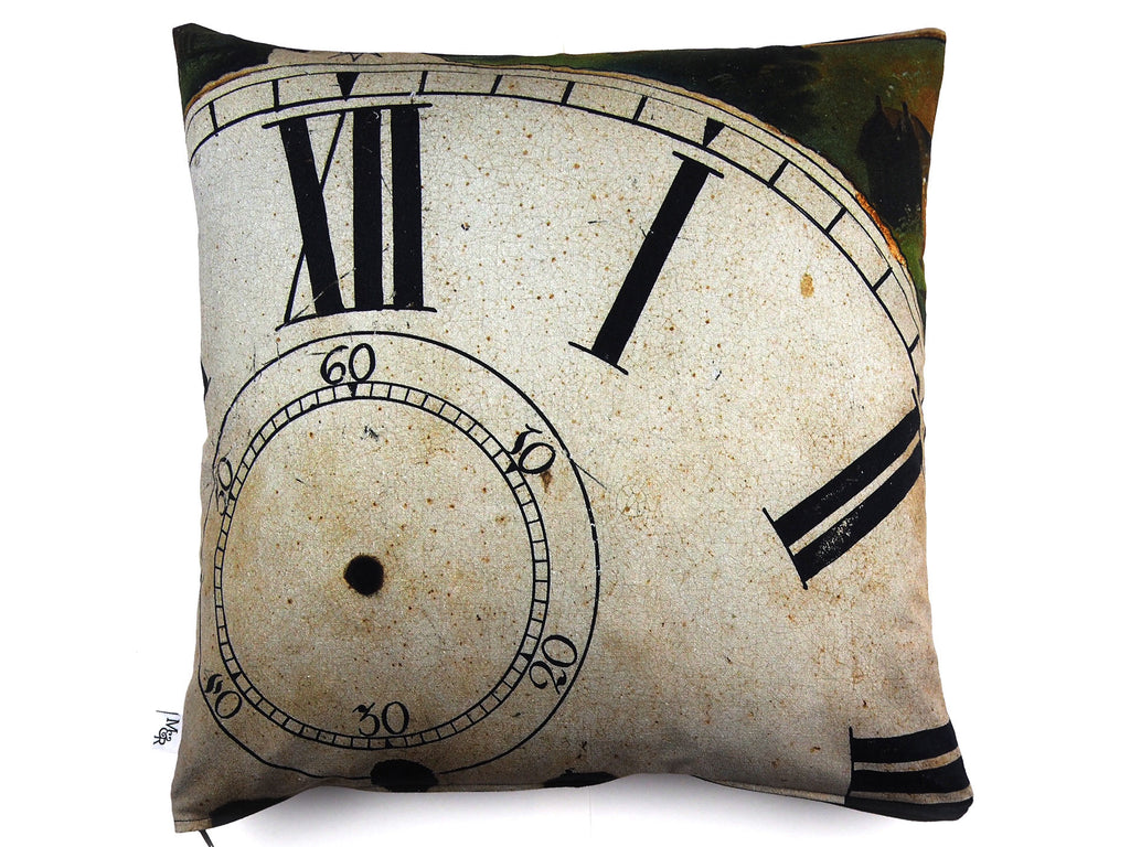 Max & Rosie Handmade antique clock face cushion front view