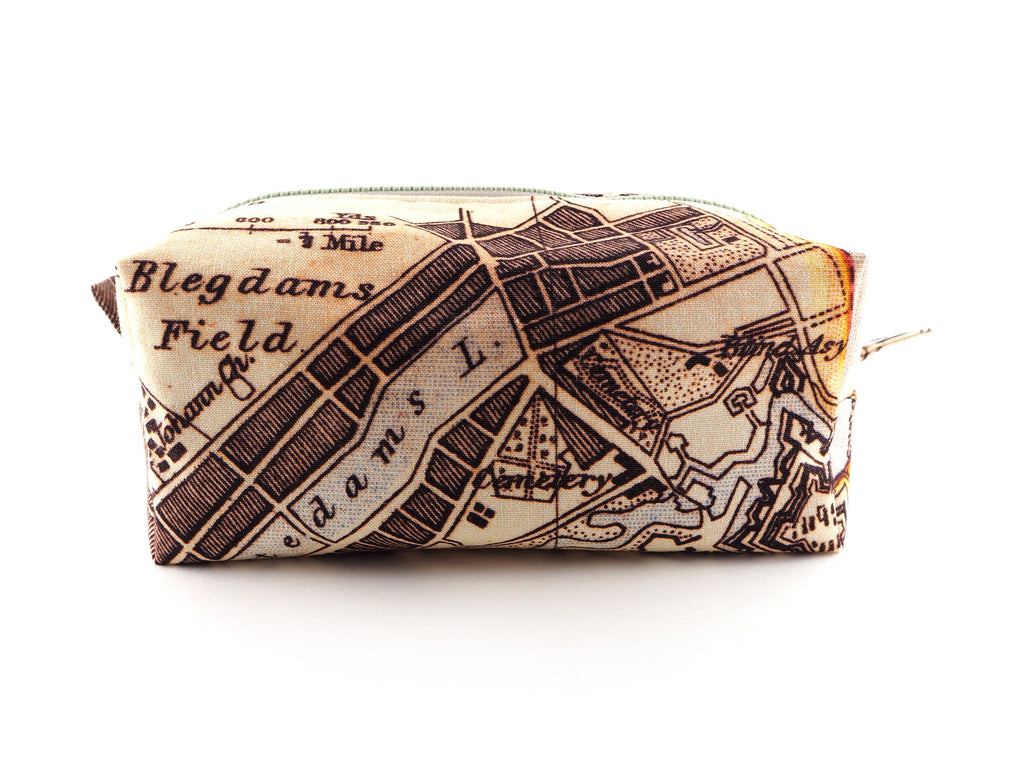 Cream and brown map print travel bag with chunky zip