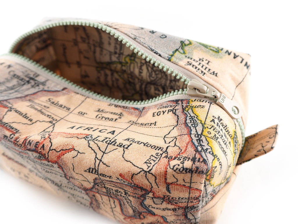 Handmade atlas print storage bag with matching lining