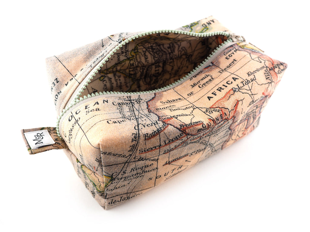 Handmade atlas print storage bag with cream zipper