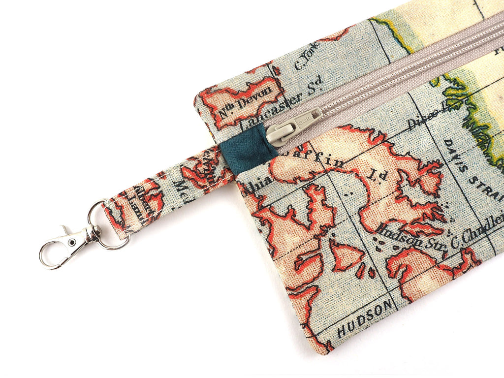 Antique map print travel pouch with clasp