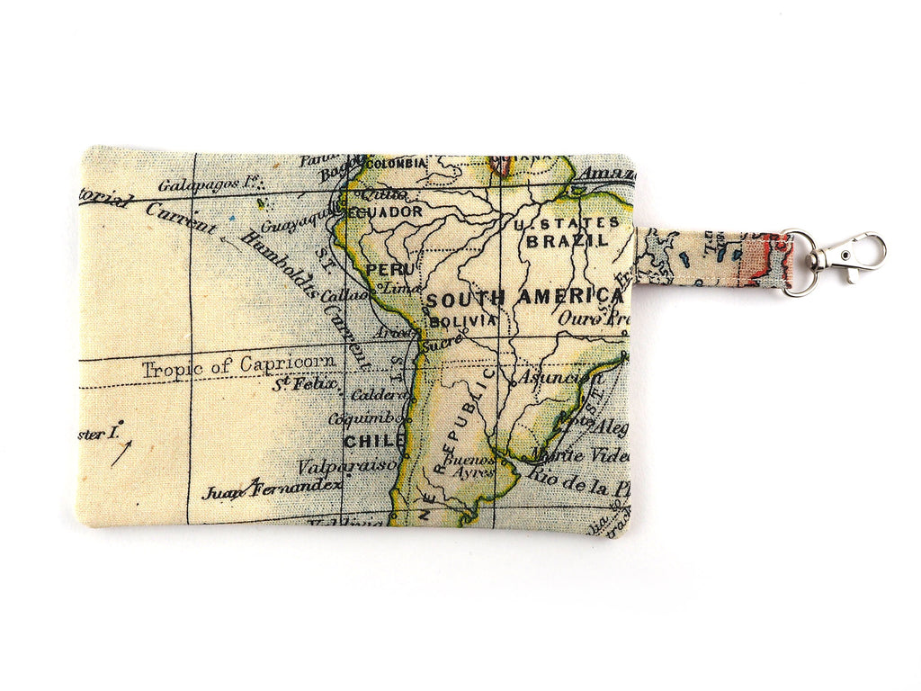 Antique map print travel pouch with zipper