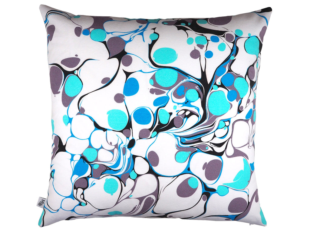 Handmade marble print cushion in grey and blue