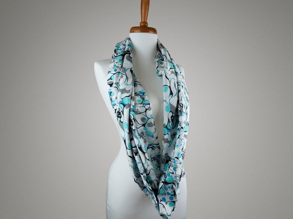 Handmade blue and white marble print infinity scarf