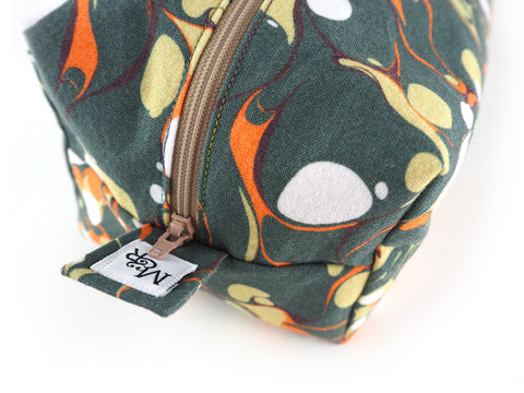 Handmade wash bag in olive marble print fabric