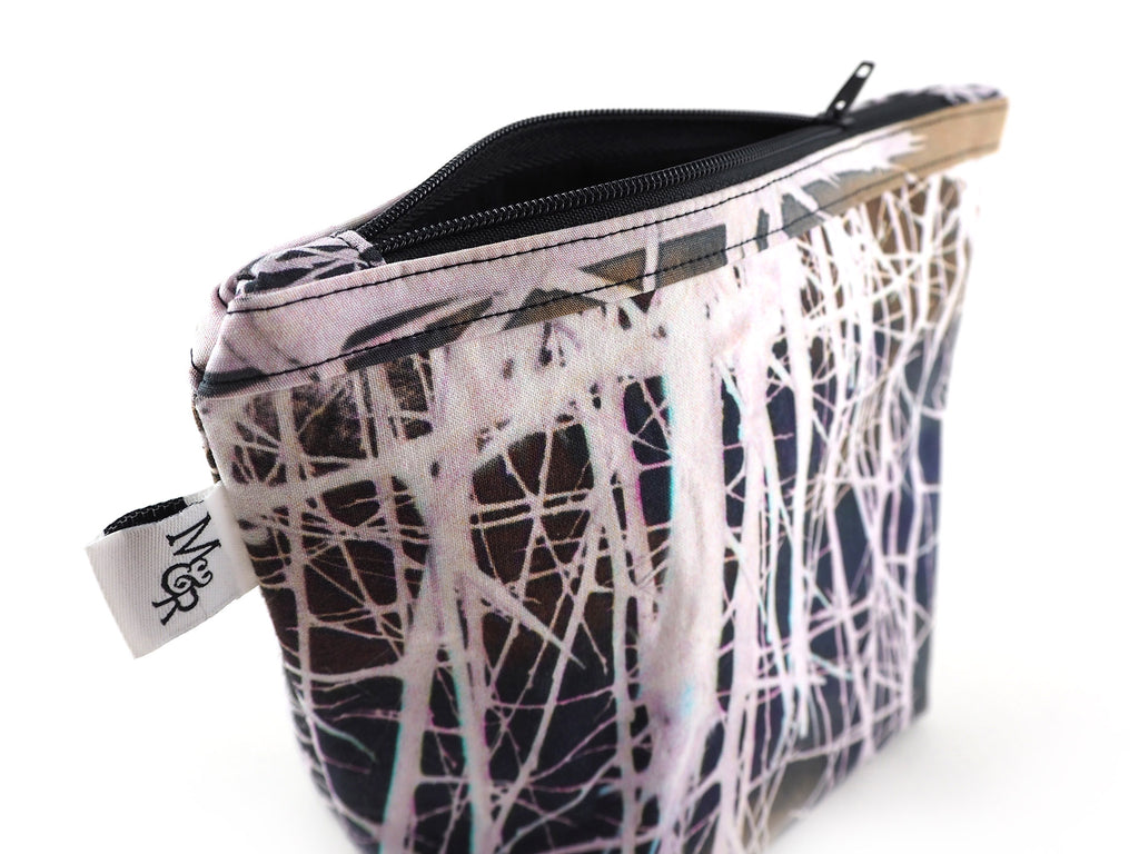 Handmade white thorns print project bag