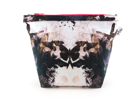 Handmade butterfly print bag with pink zip