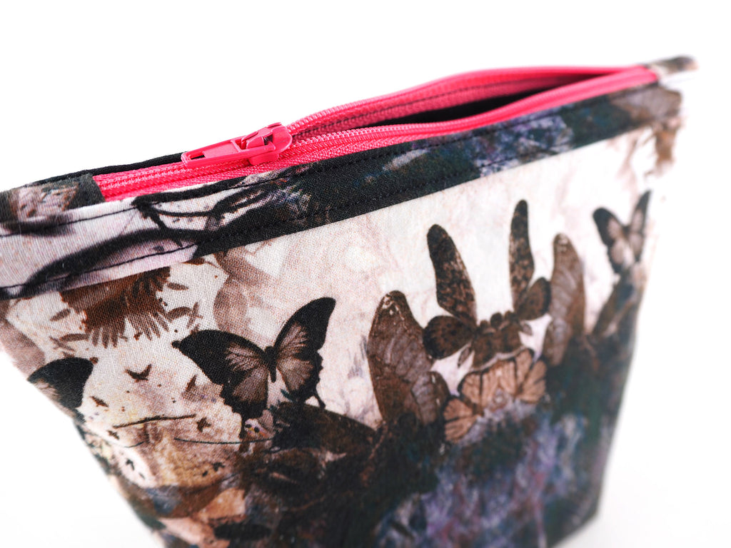 Handmade wash bag in butterfly print