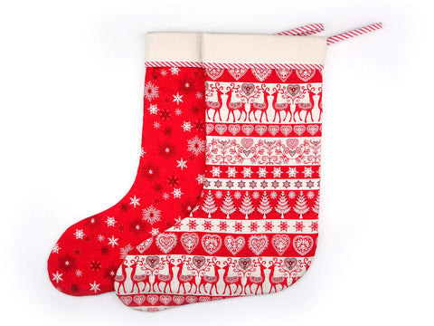 Red and cream handmade Christmas stockings