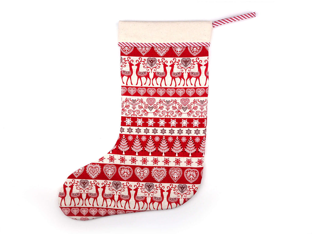 Handmade scandinavian print christmas stocking