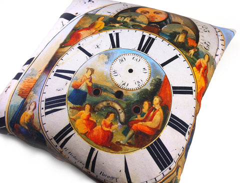 Max & Rosie Handmade clock face print cushion detail