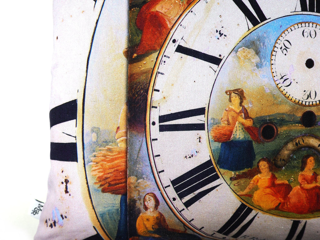 Max & Rosie Handmade clock face print cushion close up detail
