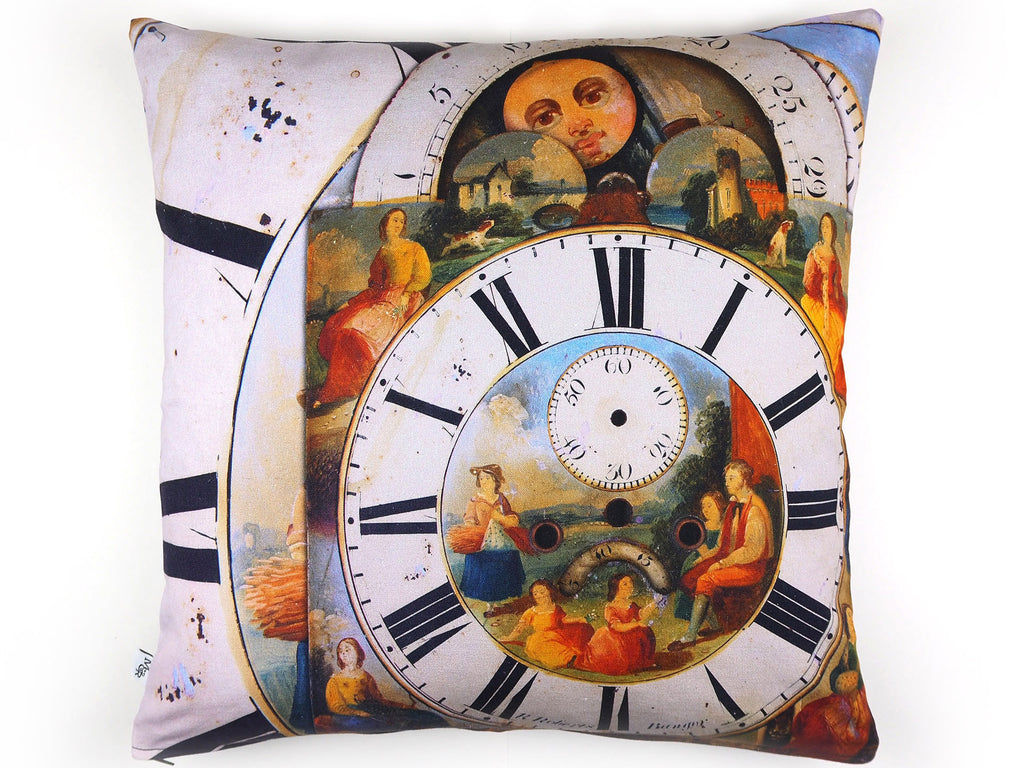 Max & Rosie Handmade clock face print cushion front view
