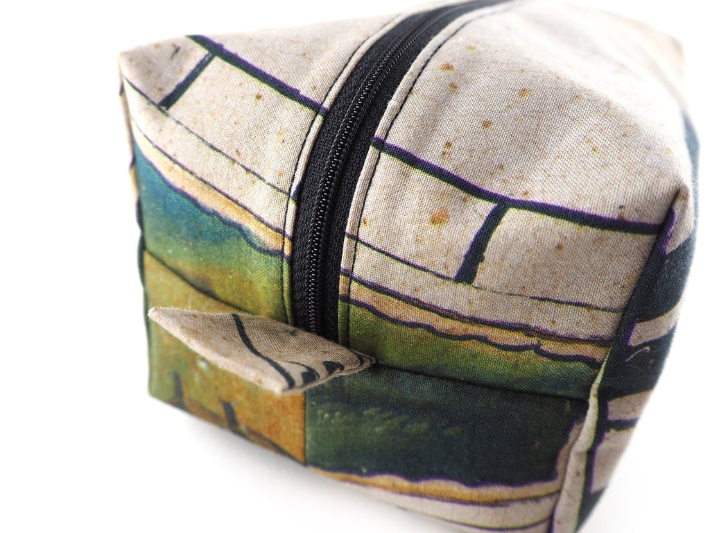 Handmade box wash bag in clock print fabric close up detail