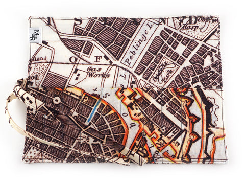 Handmade map print brush and pencil roll