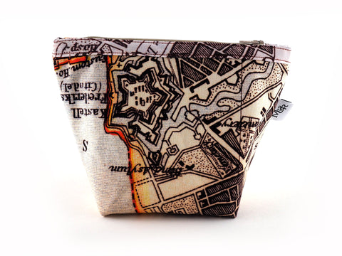 Copenhagen map print fabric handmade makeup bag back view