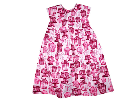 Handmade girl's dress in cupcake print fabric