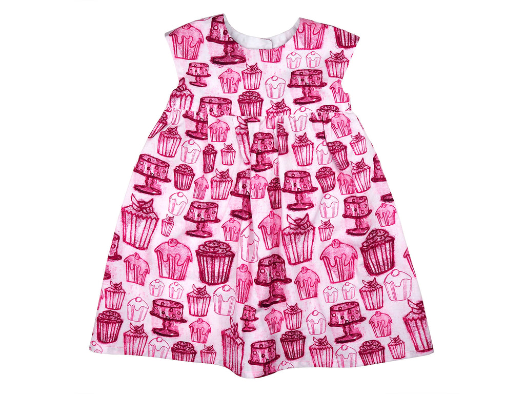 Pink and white cake print dress