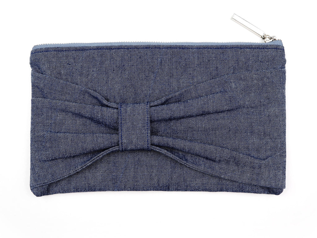 Handmade bow front clutch bag in denim