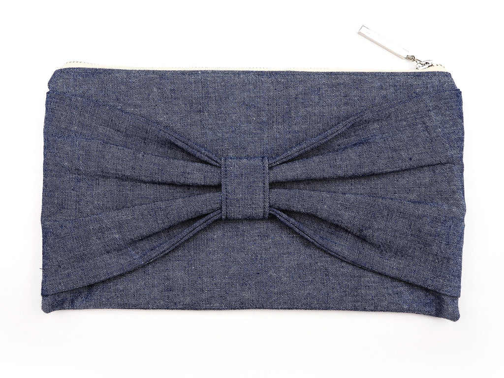 Handmade denim clutch bag cream zip