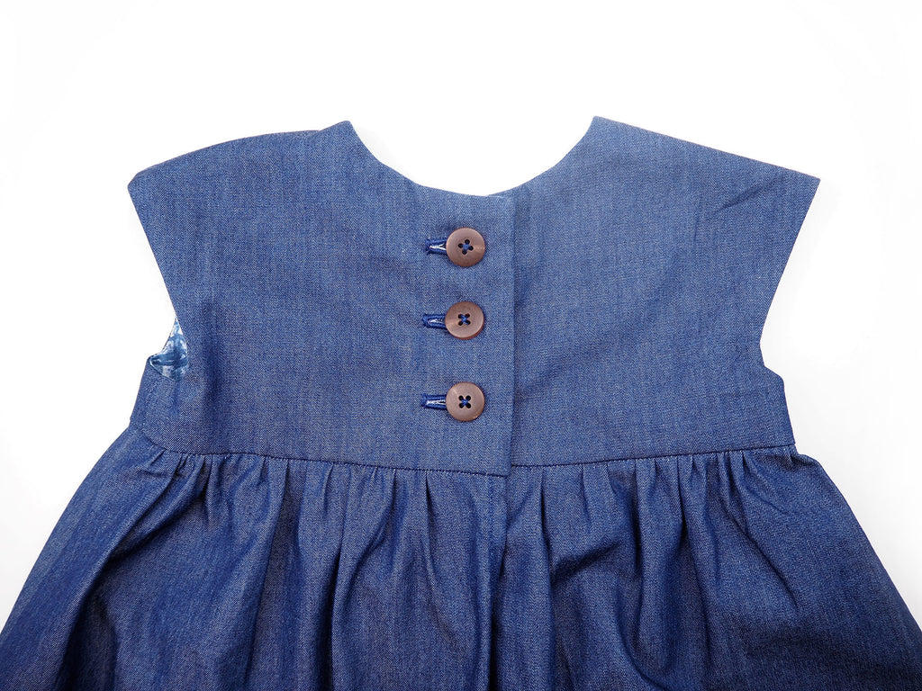 Button up handmade girl's dress in denim