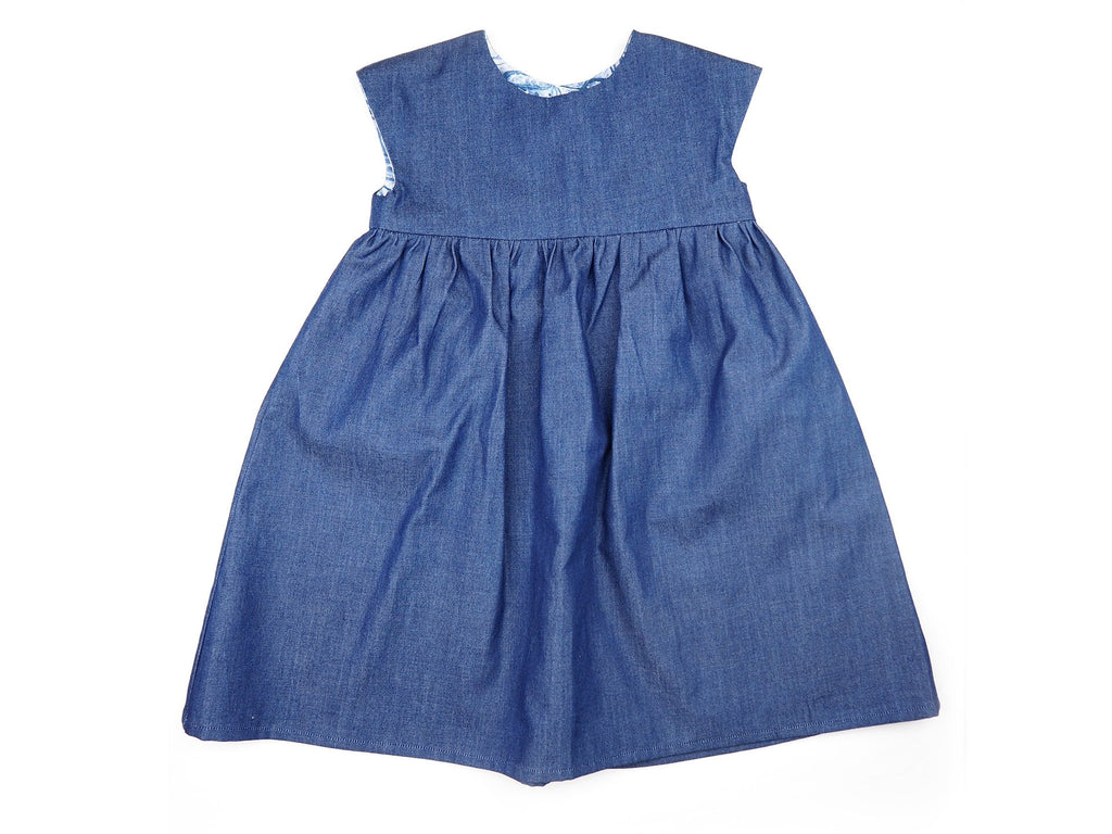 Handmade denim girl's dress with gathered skirt