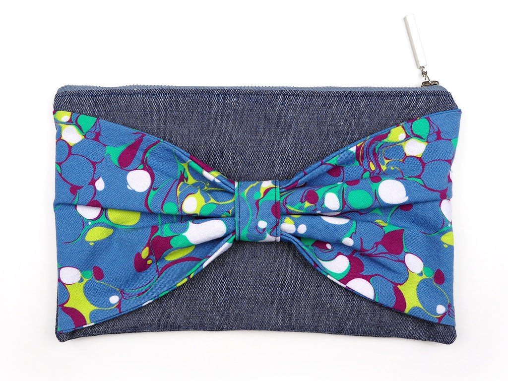 Handmade denim and marble print bag with bow