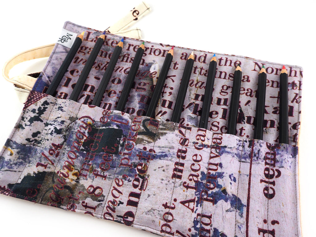Handmade dictionary print fabric brush or pencil roll