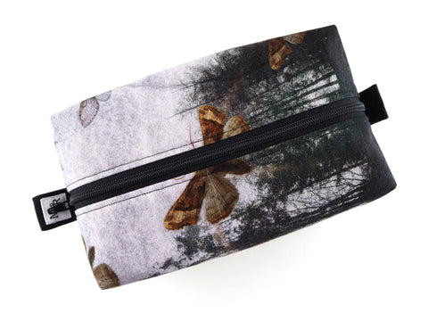 Handmade moth print travel bag