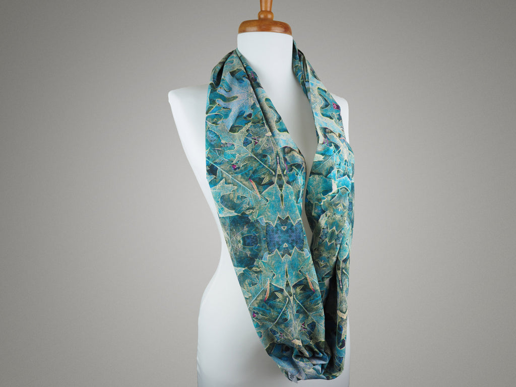Handmade leaf print infinity scarf on a mannequin