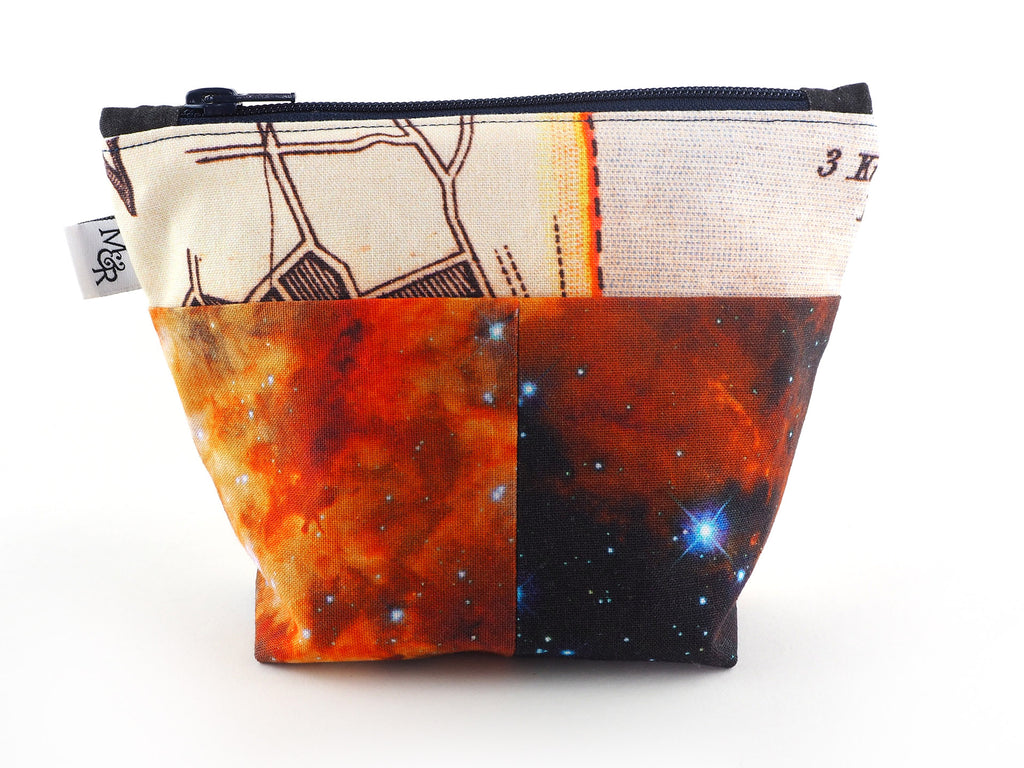 Handmade zero waste makeup bag in exclusive designer fabric prints