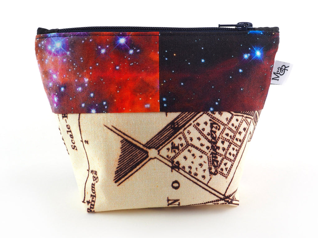 Handmade galaxy print zip bag