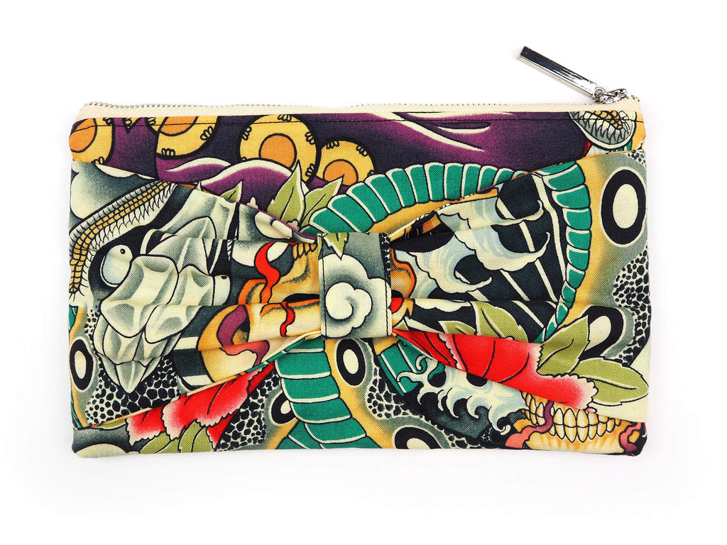 Handmade clutch bag in designer fabric front view