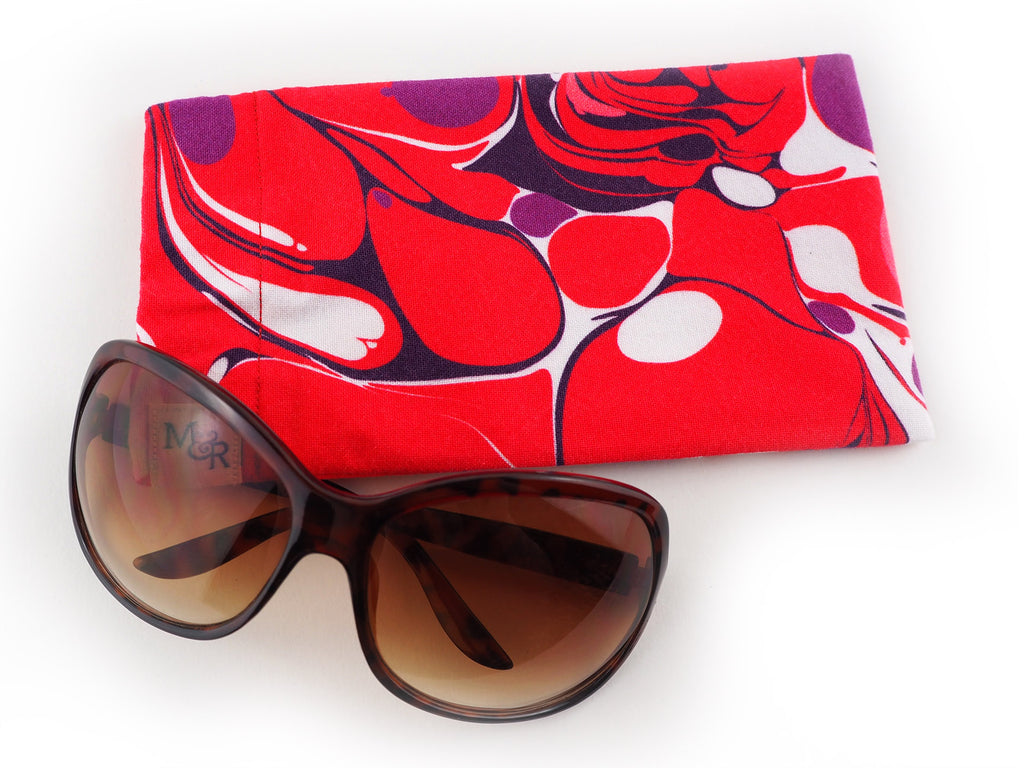 Pink and purple marble print handmade glasses case