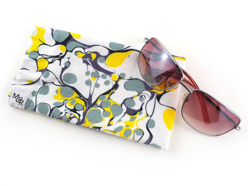Handmade sunglasses case in grey and yellow marble print
