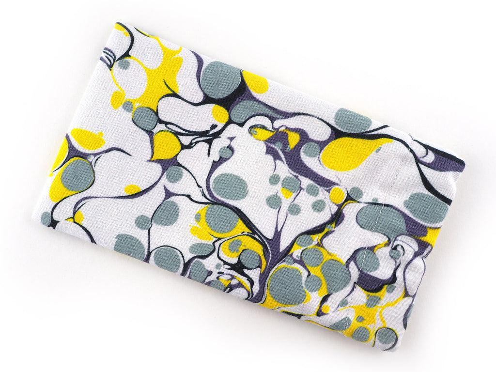 Handmade glasses case in grey and yellow marble print fabric