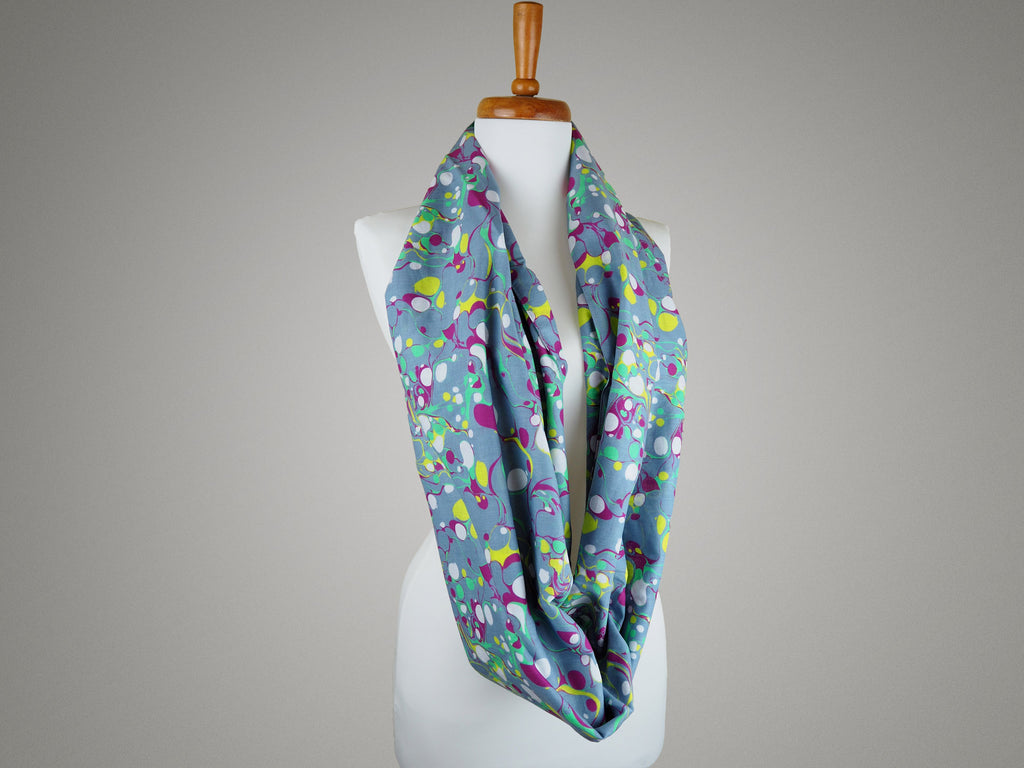 Handmade infinity scarf in marble print fabric