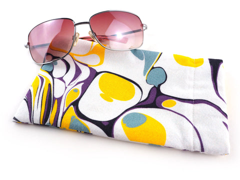 Handmade yellow and purple marble print glasses case