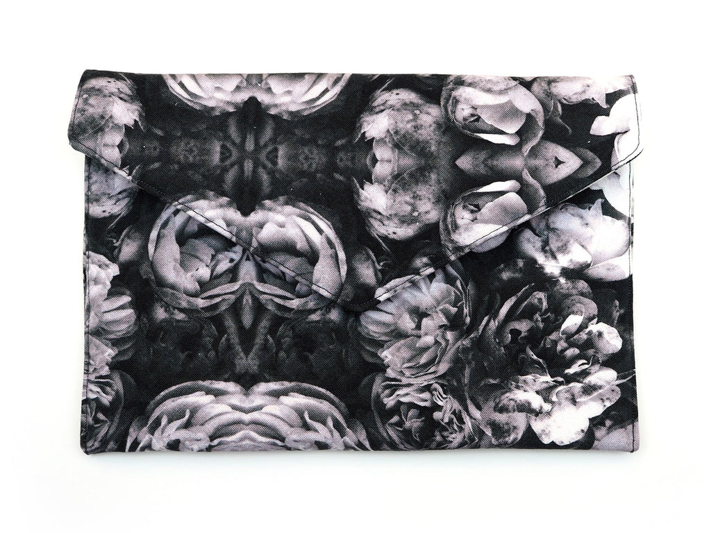 Grey roses handmade clutch bag