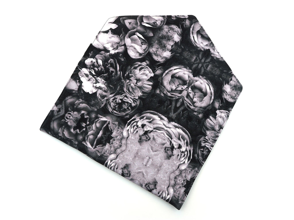Monochrome roses handmade clutch bag