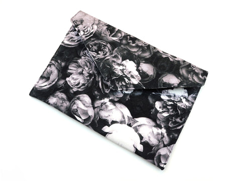 Grey roses clutch bag
