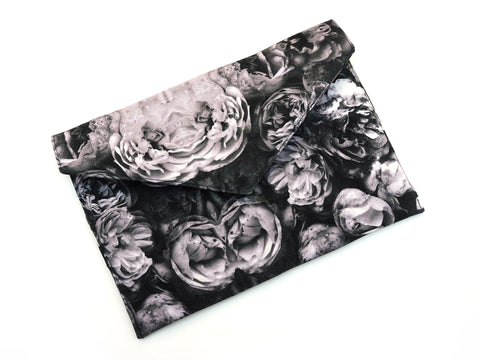 Handmade envelope clutch in rose print fabric